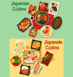 japanese cuisine seafood and meat dishes icon vector image vector image