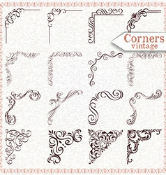 Vintage design elements corners and borders vector