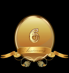 6th golden anniversary birthday seal icon vector