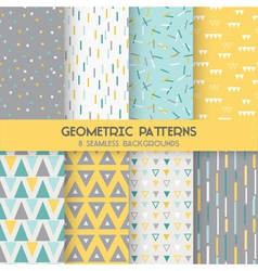 8 Seamless Geometric Patterns vector image