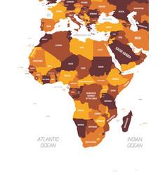 Africa map - brown orange hue colored on dark vector