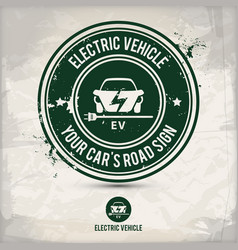 Alternative electric vehicle stamp vector