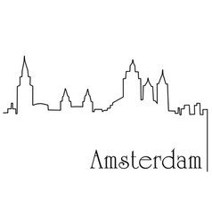 amsterdam city one line drawing background vector image