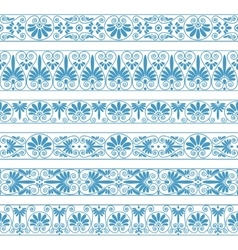 Antique borders in blue color on white vector