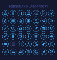 Big science icon set trendy flat icons vector