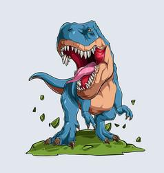 Blue angry tyrannosaurus t rex dinosaur monster vector