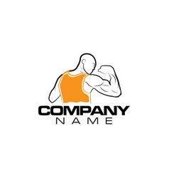 bodybuilding gym logo design vector image