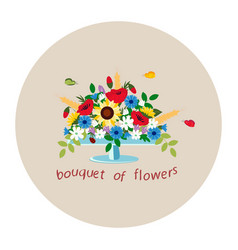 bouquet of wildflowers in a vase vector image