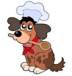 Cartoon dog chef with spoon vector