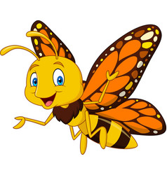 Cartoon happy butterfly vector