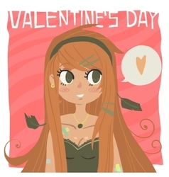 Cartoon Happy valentine s day vector