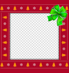 christmas or new year square border frame with vector image