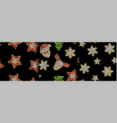 christmas toys from sequins seamless vector image