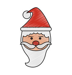 Color pencil cartoon front view face santa claus vector
