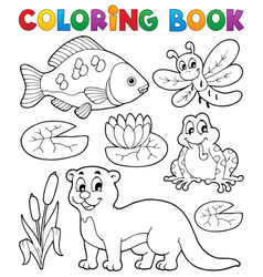 coloring book river fauna image 1 vector image