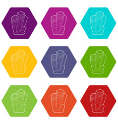 column coral icons set 9 vector image