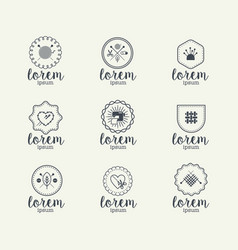 Crafts handmade logo set vector