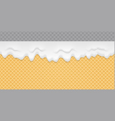 Cream melted on wafer background ice cream flow vector