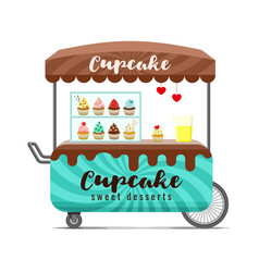 cupcake street food cart colorful image vector image