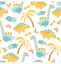 cute dinosaur seamless background vector image