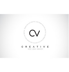 Cv c v logo design with black and white creative vector