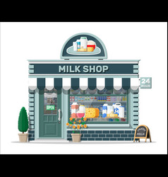 dairy store or milk shop with signboard awning vector image
