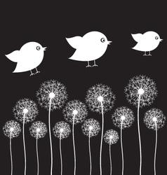 Dandelion and bird vector image