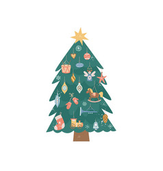 decorated vintage christmas tree with colorful vector image