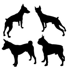 dogs silhouettes -04 vector image
