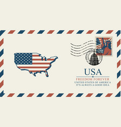 envelope with map america in colors flag vector image