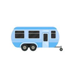 flat icon of blue camper trailer for family vector image