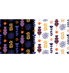 floral seamless patterns set with colorful flowers vector image