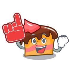 Foam finger sponge cake mascot cartoon vector