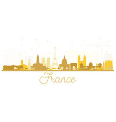 france skyline silhouette with golden buildings vector image