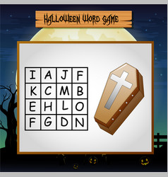 Game helloween find the word of coffin vector