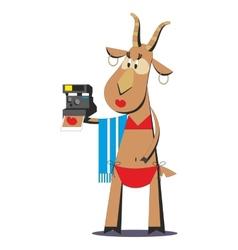 Goat in bathing suit making selfie 05 vector