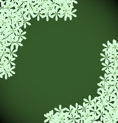 Green floral with dark green background vector image