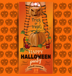Halloween party poster design trick or treat vector