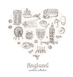 Hand drawn doodle England symbols set vector image