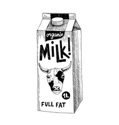 hand drawn fresh milk packaging container vector image