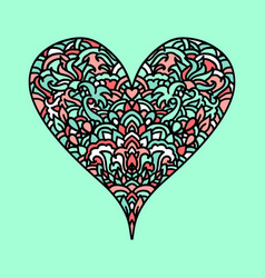 Handdrawn zentangle heart mandala style design vector