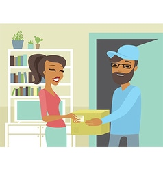 Happy woman receiving package from courier vector image