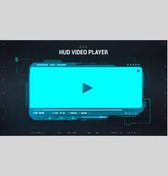 hi-tech video player in hud style blue digital vector image