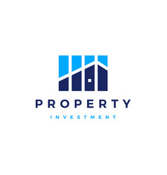 House bar chart property investment logo icon vector