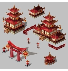 Houses in Japanese style image big set vector