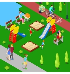 Isometric City City Park with Children Playground vector