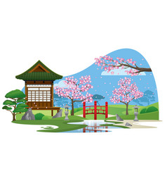 japan garden with small house vector image