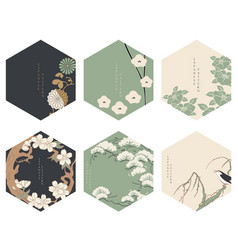japanese floral background asian icons vector image