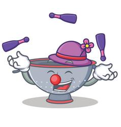Juggling colander utensil character cartoon vector