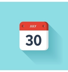 July 30 Isometric Calendar Icon With Shadow vector